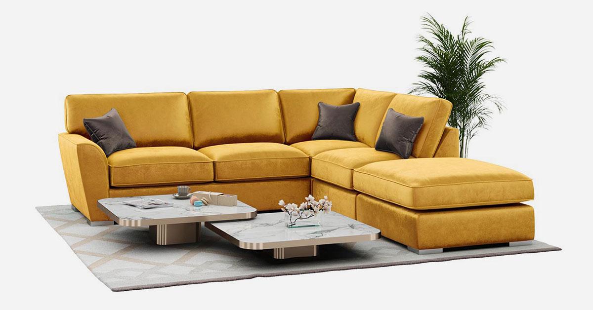 Gelbe und senffarbene Ecksofas für das Wohnzimmer