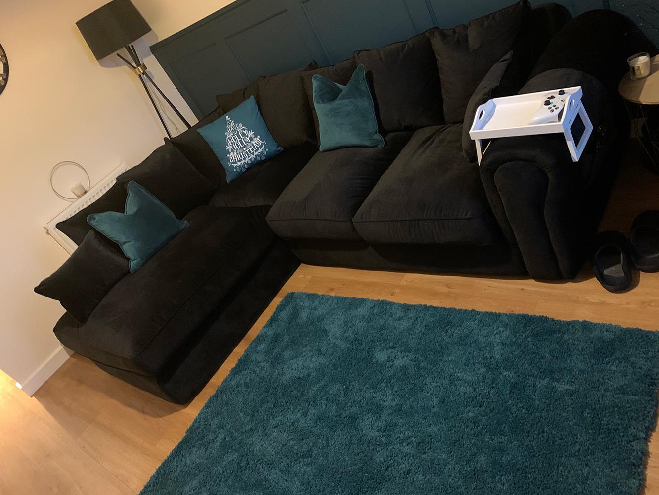 Schwarzes Ecksofa links Baron, ein Sofa im englischen Stil mit losen Rückenlehnenpolstern