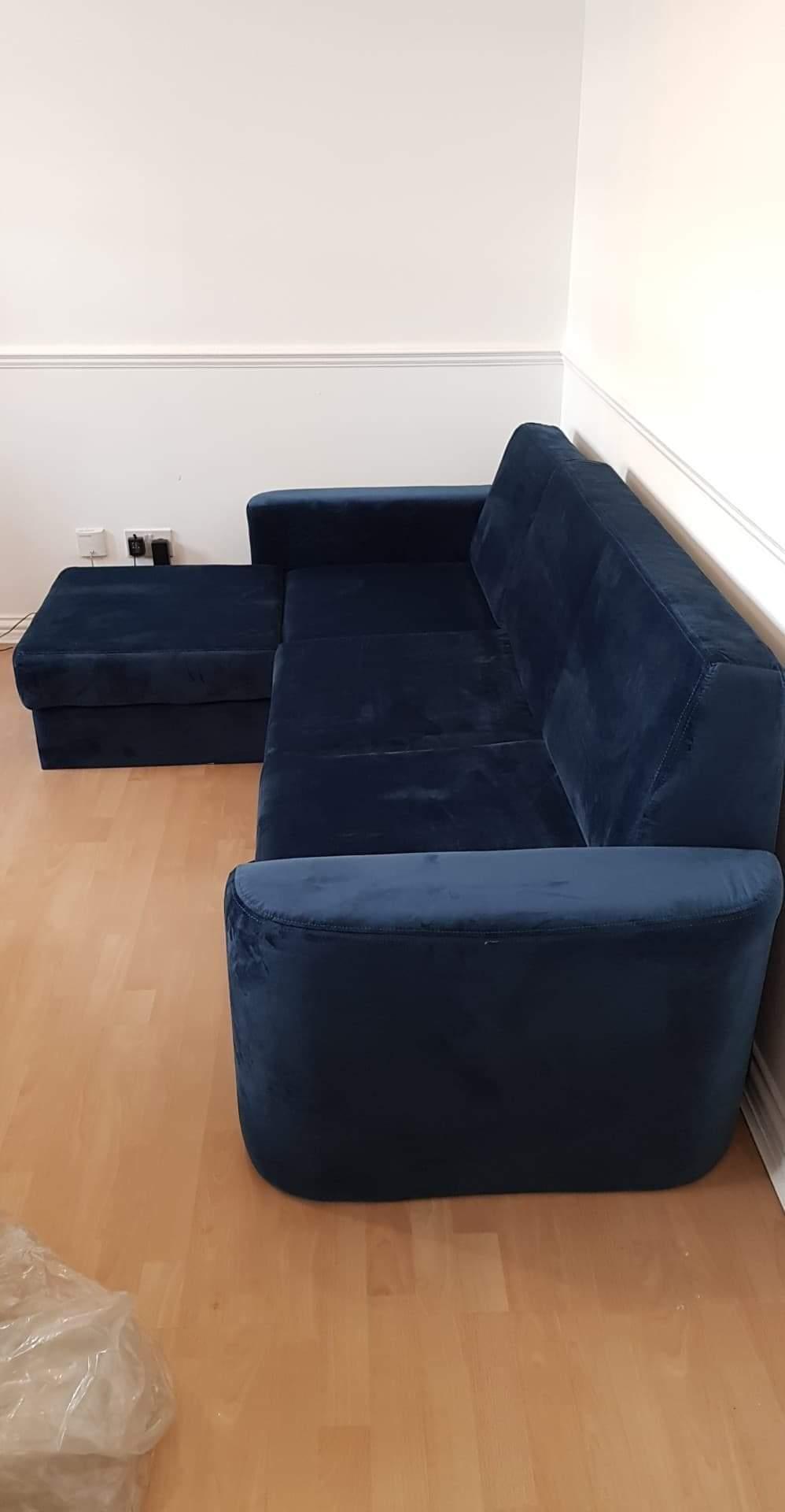 Blaues Velours-Ecksofa mit Schlaffunktion Elegance
