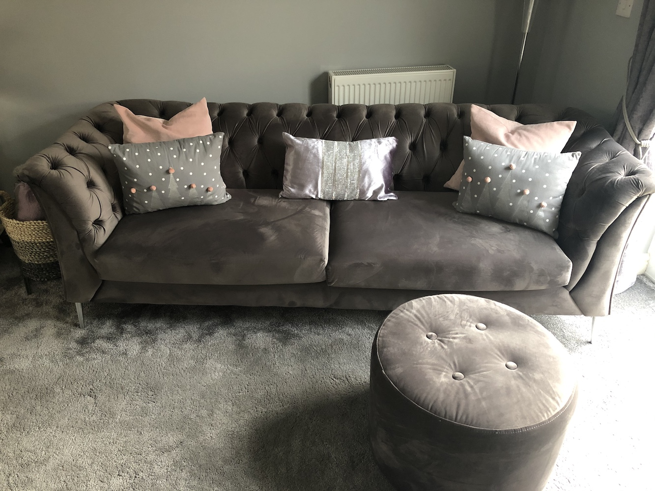 Velours-Sofa Chesterfield Modern