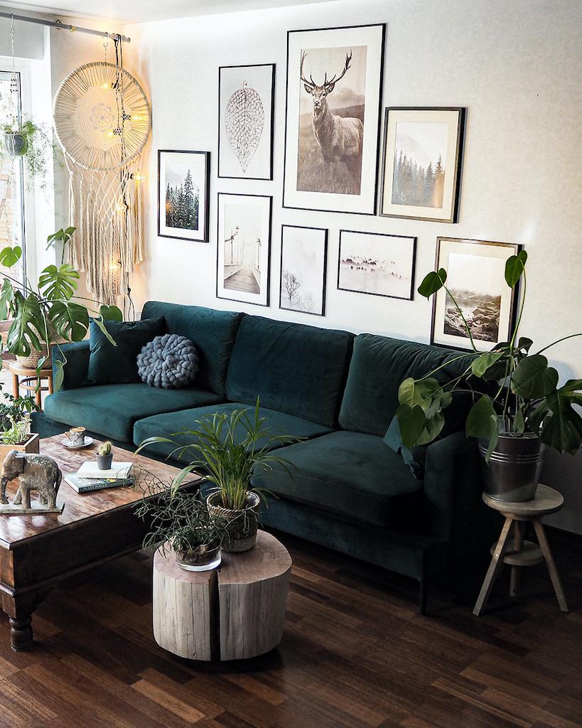 Dunkelgrünes 3,5-Sitzer-Sofa Covex