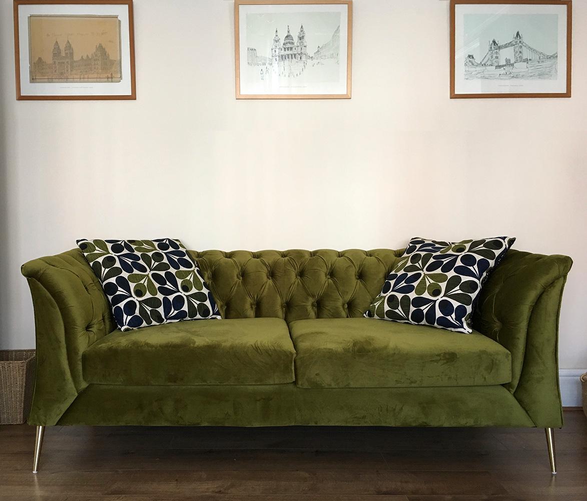 Grünes Chesterfield Modern Sofa von Kate