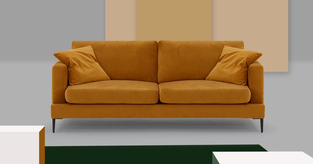 Ein gelbes Sofa im Salon. 3 Ideen für einen herbstlichen Salon